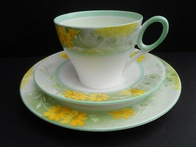"An unusual Shelley ""Yellow Aster"" 12497 Oxford shape tea trio. C.1936"