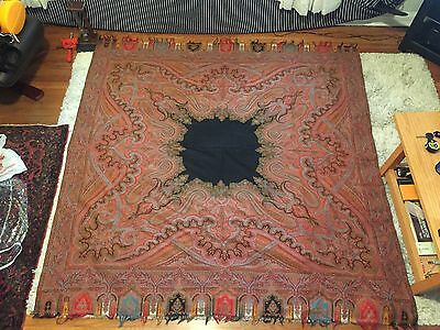 "Antique Victorian Wool Shawl 74"" X 74"""
