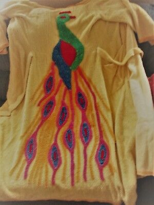 Vintage yellow, peacock Chenille robe, large