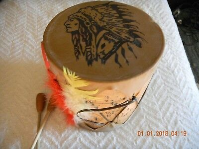 ANTIQUE Hand Made Indian SKIN DRUM- TAOS OR HOPI
