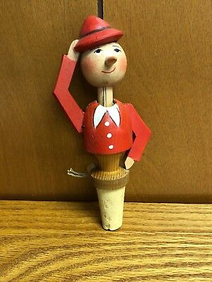 Vintage ANRI Hand Carved Wood Cork Stopper Mechanical Hat Tipping - Working