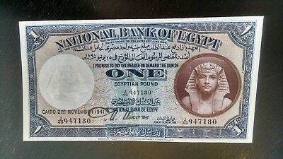 1941 One Pound Egyptian Banknote National Bank of Egypt AU  947180