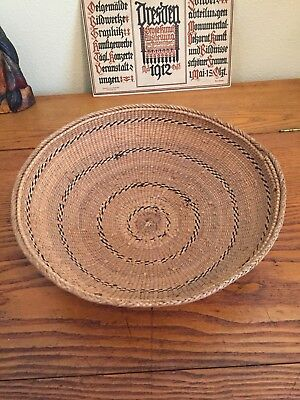 """Vintage Hand Woven Native Tribal African Coiled Tray/Bowl 12"""" Circumference"""