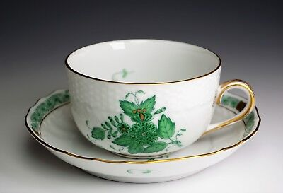 Herend Chinese Bouquet Green Cup and Saucer # 1726