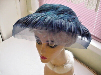 Vintage Blue Large Brimmed Women'S Hat With Blue Feathers & Netting