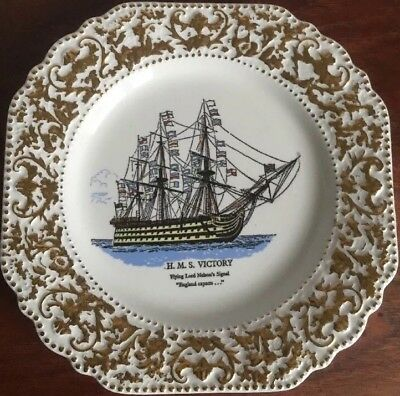 Lord Nelson Pottery Decorative Plate Featuring H.m.s Victory + Gilt  Border