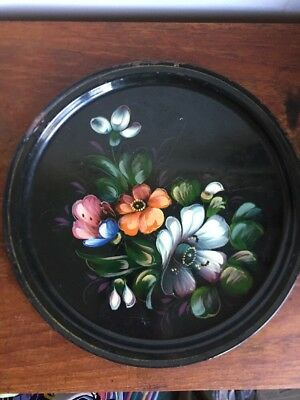 Zhostovo vintage Russian hand painted flowers on black enamel metal plate tray