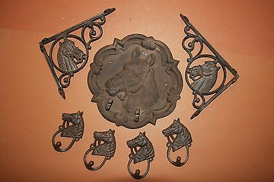 (7), Rustic Cast Iron Horse Wall Decor, Vintage style horse wall plaque, hooks