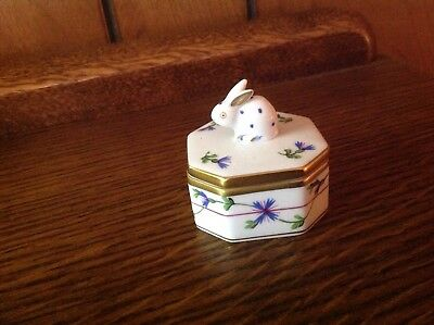 Herend Hungary Handpainted  jewelry/trinket box with rabbit on lid