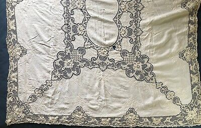 Vintage large handmade Needle lace and Embroidery  TABLECLOTH mended