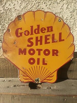 Shell Motor Oil Company Porcelain Sign Gas Station Pump Plate Lubester Plate