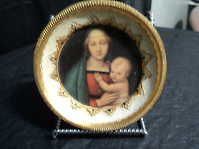 Antique Collectable  Italian Florentina Gold  Round Hand Painted Wall  Plaques