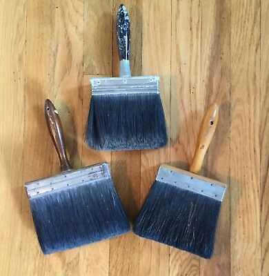 Vintage Lot Of 3 Horse Hair Paint Brushes