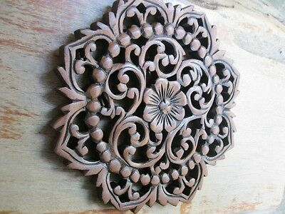 Vintage Carved Wood Wall Decor Panel Flowers Wood Wall Art Brown  10""