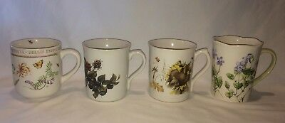 4 Marjolein Bastin Coffee Mugs Cups Nature's Sketchbook Wildflower Meadow 1997