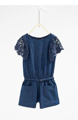 ZARA GIRLS INDIGO JUMPSUIT With GUIPURE LACE SLEEVES 13/14 - Adorable
