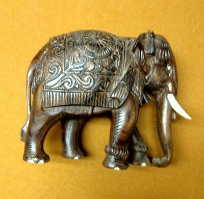Beautiful Vintage Ornate Hand Crafted Carved Wooden Elephant Wood Figurine