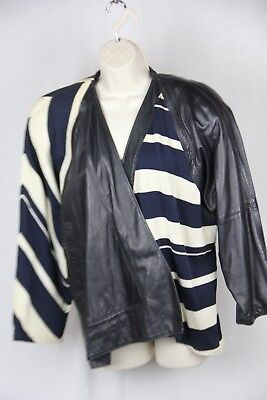 Vintage  Gianni Versace unstructured  Navy Leather/cotton striped jacket  M