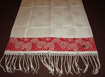 Antique Red Linen Damask Fringed Show Towel - Excellent, Victorian