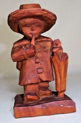 Carved Wood Gentleman With Pipe & Umbrella 4 3/4 Inch Folk Art Carving