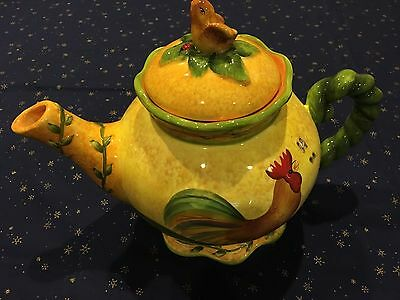 RARE MINT House of Hatten Ceramic TEAPOT  CHICKEN/ROOSTER  DESIGN LARGE!