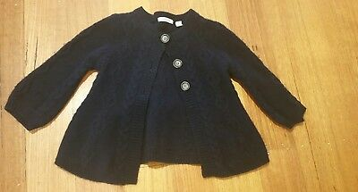 Country Road Girls 100% Wool Navy Cardigan Size 6