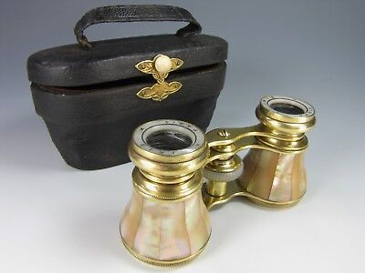 Antique mother of pearl brass binocular Opera glasses Iris Paris with case