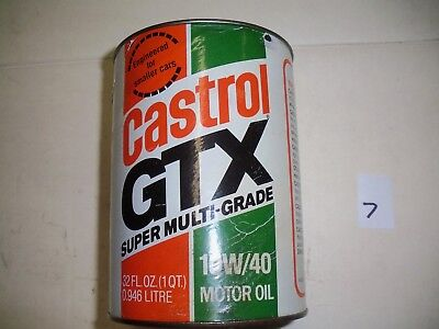 Castrol Gtx  Motor Oil Can Full Sae 10W/40 Super Multi-Grade Quart Paper Label 7