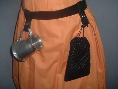 Two Black leather tanker or pouch keepers with gold snaps