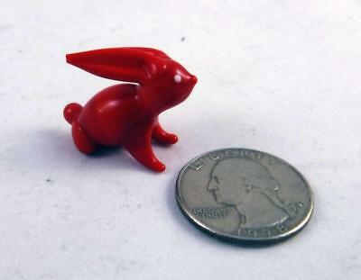 RARE Red Rabbit Vintage GLASS FIGURINE Miniature Pet Collectible