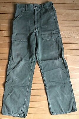 Vintage Army Utility Trousers Drab Green Cotton Military Pants 27 x 29 Small