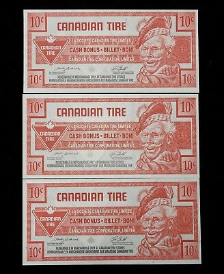 Three Ten Cent Canadian Tire Coupons 2008 Issue CTC S28-C08.......UNCIRCULATED!!
