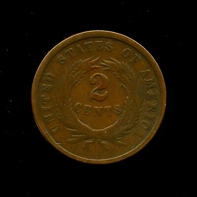1864 Copper Two Cent Coin 2c First Year, Large Motto