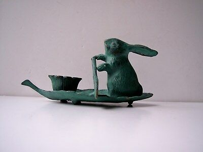 Vintage Bronze Bunny Rabbit Holding Oar on Leaf Boat  Candle Holder