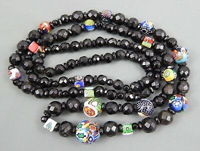 Vintage Art Deco Black Faceted &  Venetian Murano Art Glass Bead Necklace
