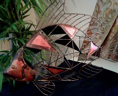VINTAGE MODERN ABSTRACT METAL  ART FISH  WELDED SCULPTURE, Unique and BOLD