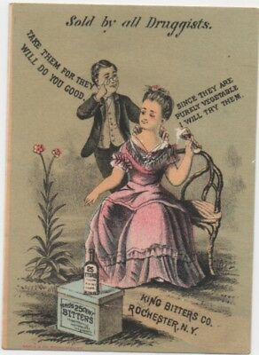 King's All Vegetable 25 cent Bitters Quack Med Trade Card c1883