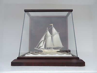 Rare Ultra Fine Art-Deco 2 Masted Solid Sterling Silver 985 Sail Boat Yacht Ship