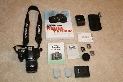 Canon Rebel T1i EOS 500D Camera 2k shutter cnt w 18-55mm Lens, External Flash +