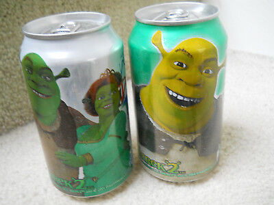 Shrek 2 and Fiona Sierra Mist + Diet Collectible Soda Pop Cans Unopened + Empty
