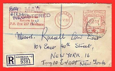 Kut - 1953 Reg'd Meter Cover - National Bank Of India  To New York
