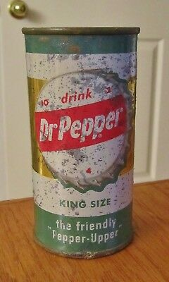 "~DR. PEPPER~ ""KING SIZE"" 10-ounce  Flat Top Soda Cola Can Dallas Texas  ~~L@@K~~"