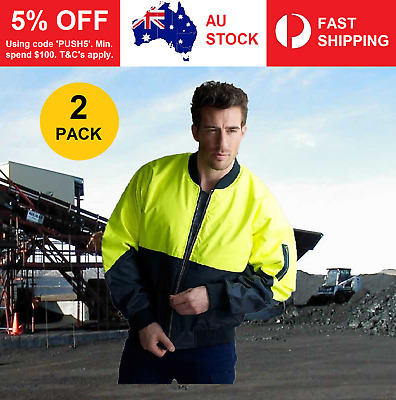 2x Hi Vis Yellow/Navy Flying Bomber Pilot Waterproof Safety Jacket Work Wear