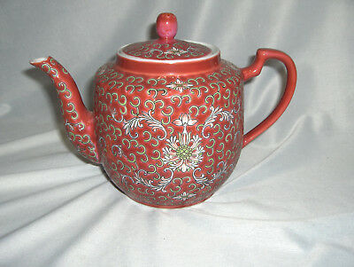 Vintage Antique Ceramic Teapot Red Enamel Scrolls Flowers 3 Cup China NICE