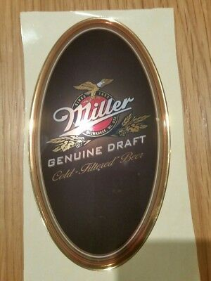 Miller Genuine Draft Oval Beer Tap Domed Stickers X 50