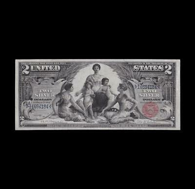 Stunning 1896 $2 Silver Certificate Education Note Strong Extra Fine