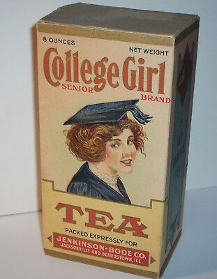 Vintage College Girl Tea Cardboard Box Jacksonville Beardstown IL