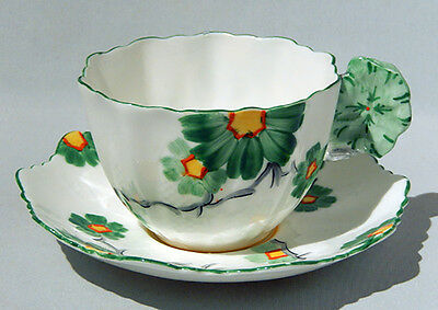 Rare PARAGON FLOWER HANDLE Hand Painted ART DECO FLORAL Cup & Saucer 1931-1933