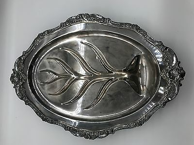 Wallace Baroque 1911 Footed Silverplate Meat Platter Tray Juice Well Tree