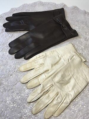 Vintage Ladies Gloves x 2 White French Leather Size 7.5 & Brown Vinyl Size 7